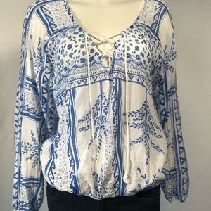 Free People Lace-up Blouse in Blue and White